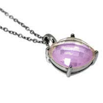 Amethyst Pendant Facetted Gemstone 10x10mm with Neklace 41cm Sterlingsilver 925