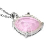 Rosequarz Pendant Facetted Gemstone 10x10mm with Neklace 41cm Sterlingsilver 925