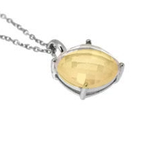 Citrine pendant silver pendant 925 Rhodium Faceted 10x10x15mm ca.41cm chain
