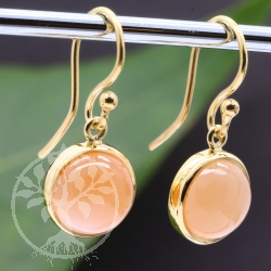 Moonstone Earrings Silver 925 Gold Plated 10mm Round Stone
