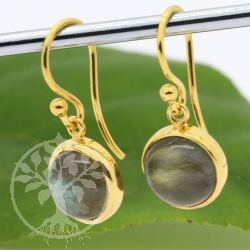 Labradorite Earrings Gold Plated Silver 925 round stones 10mm Gold Earrings