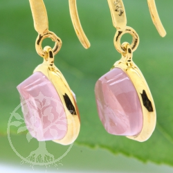 Gold Ear Pendant Rosa Quartz