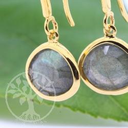 Labradorit Ohrringe Vergoldet Silber 925