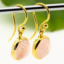 Rosequatz Earrings Gold Silver 925 gold plated round 10mm