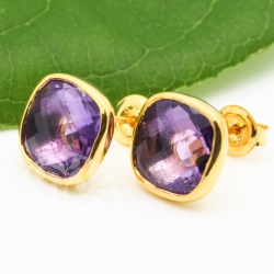 Amethyst Stud Earrings Gold Plated 925 Silver Faceted Gemstone 10mm