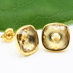 Citrin Ohrstecker Silber 925 Vergoldet Facettiert