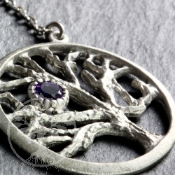 Tree of life Pendant Silver 925 Rhodium plated with Amethyste