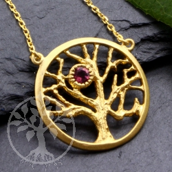 Tree of life Pendant 925 Silver Gold Plated Tourmaline Gemstone with neklace