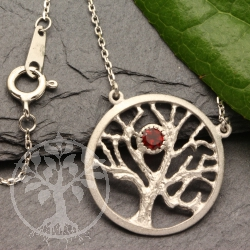 Tree of Life pendant 925 silver with garnet stone rhodium silver with chain