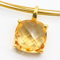 Citrine Pendant Gold Faceted Square Sterling Silver 925 gold plated AA