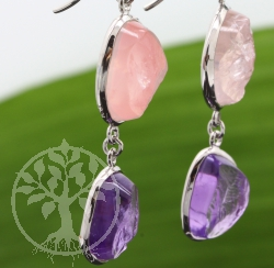 Earrings Amethyste with Rose Quartz in Rhodium-plated Silver 925