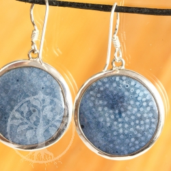 Blue Coral Earring 925er Silver 24mm