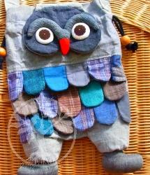 Eulentasche Beine, lustige Umhängetasche Eule als Tasche Grau/Blau