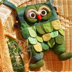 Eulen Tasche Grün Beine, Füße,Kordelzug,Reißverschluß, Umhängetasche Eulentasche