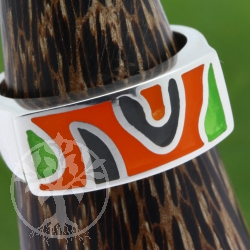 Silver 925 Ring orange green Sterlingsilver