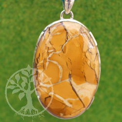 Yellow Mookaite Brecciated Gemstone Pendant in Sterlingsilver 80mm