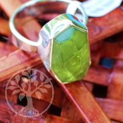 Big Peridote Ring with very big Stone in Sterlingsilver size 61
