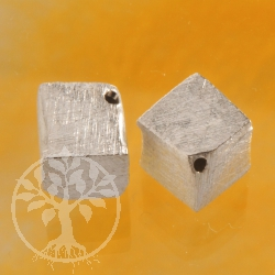 Cube Sterling Silver Bead 6 mm diagonal brushed