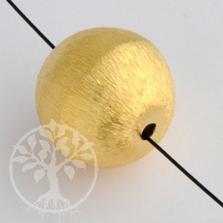 Gold Bead Goldplated  Bead brushed 12 mm Silver 925 Sterlingsilver