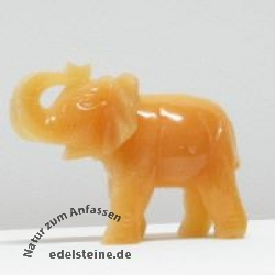 Elefant aus Orangen Calcit gross ca.100mm