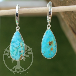 Turquoise earrings in silver from the highest quality 925 Arizona Turquoise 44mm