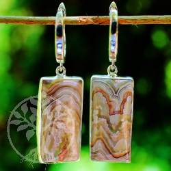 Agate Leverbacks Earwire Silver 925 Banded Agate Earrings