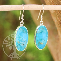 Turquoise earrings made of high quality genuine turquoise gems Sterlingsilver Unique