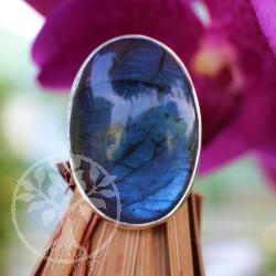 Labradorit Ring Oval in AA Labradorit Qualität  Grösse 59 silber 925