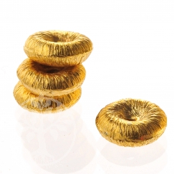 Gold Plated donut Bead brushed Sterling Silver 6/2 mm