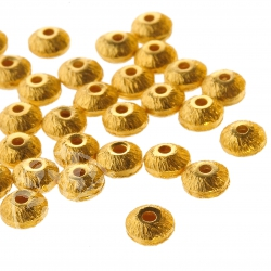 Gold Plated Silver Bead brushed 4/2mm