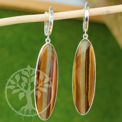 Tiger Eye Earrings Sterlingsilver 925 60mm high