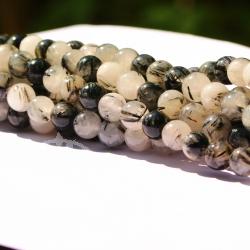 Turmaline in Quartz gemstone Beads 8mm