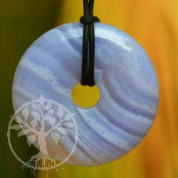 Blue Lace Agate AAA Donut Pendant 30mm