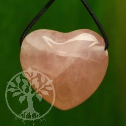 Rosenquarz Herz Anhänger 25mm Bauchig A