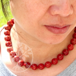 Red jasper Neklace ball chain ca. 45cm/12mm