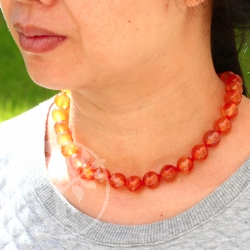 Carnelian neklace ball chain ca. 45cm/12mm