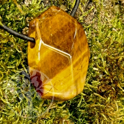 Tiger Eye Gold Pendant Front faceted 8/12*25/35mm