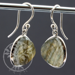 Labradorite Earrings Sterling Silver Rhodium