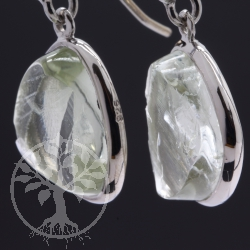 Prasiolithe Earrings Sterling Silver Rhodium