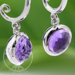 Amethyst Earrings Sterling Silver Rhodium plated faceted gem