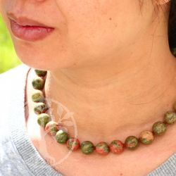 Unakite necklace ca. 45cm unakite beads 12mm