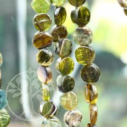 Green Tourmaline Neklace with Coin Shape Tourmaline Beads