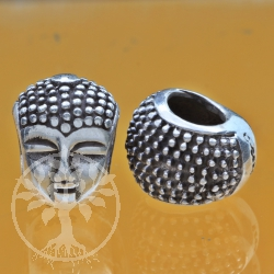Buddha Head silverbead 8x15 mm 5mm Hole Sterlingsilver