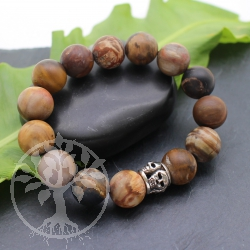 Bracelet petrified wood matt semi precious stone  with silver beads 925  20cm