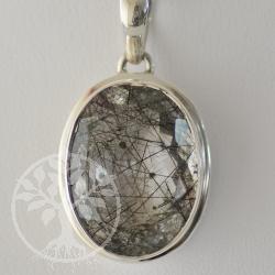 Turmaline Quartz Pendant silver stone 925 39x21 mm