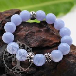 Chalcedon Edelsteine Perlen Armband mit Silber Perlen 12 mm AA 20 cm