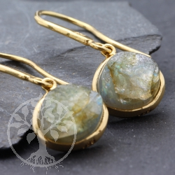 Labradorite Earrings Sterling Silver Gold Plated Rough