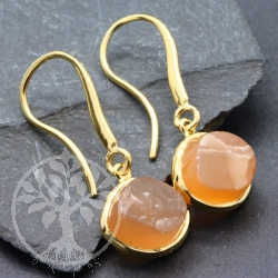 Moonstone Earrings Sterling Silver Gold Plated Rough