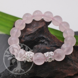 Bracelet Rose Quartz stones With silver 12 mm AA