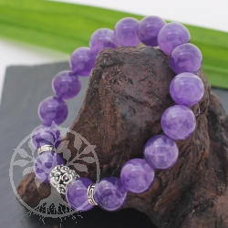 Amethyst BraceletStone with silver 10mm 20cm